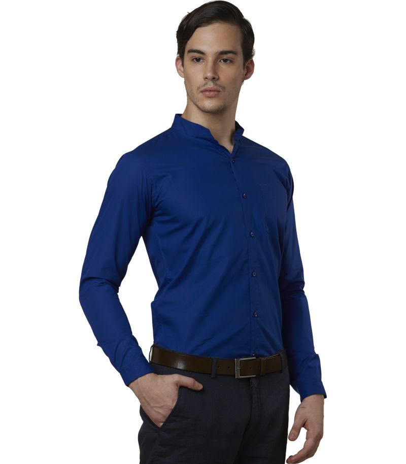 Buy Lisova Royal Blue Men's Plain Formal Slim Fit Shirt online
