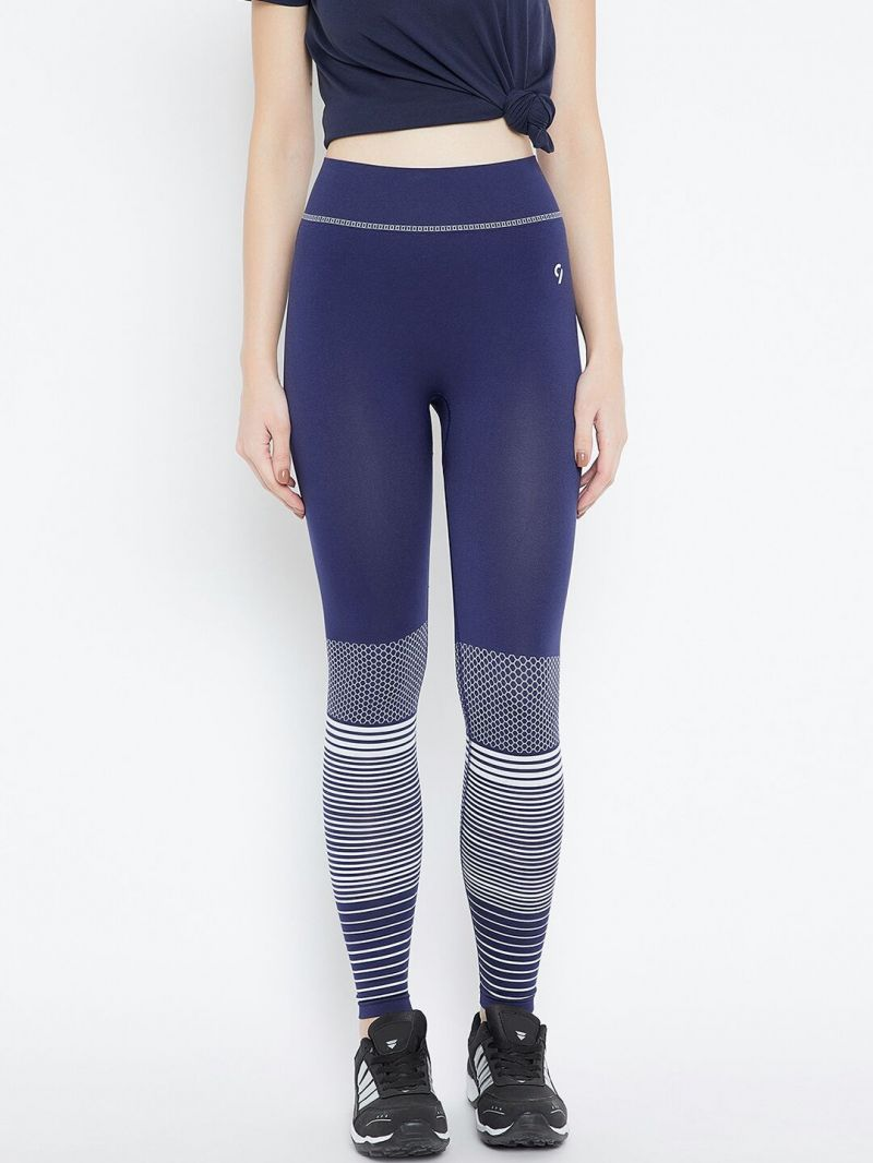 Buy C9 Airwear Womens Solid Blue Legging With Bottom Pattern online