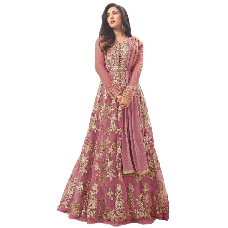 Buy Krishna Tex Deigner Light Pink Embroidered Semi Stitched Long Anarkali Suit online