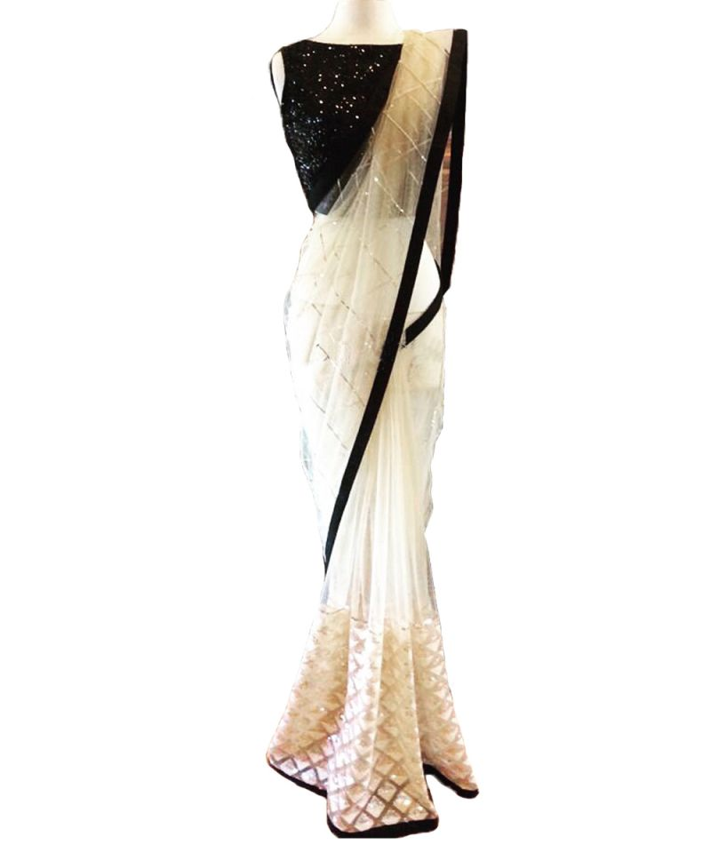 Buy Designer White Net With Sequence Embroidery Work Saree online