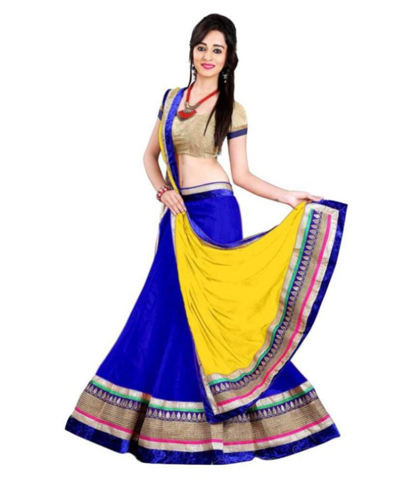 Buy Payal Fashion Womens Semi Stitched Lehenga Choli In Net Fabric With Blouse & Dupatta (blue) online