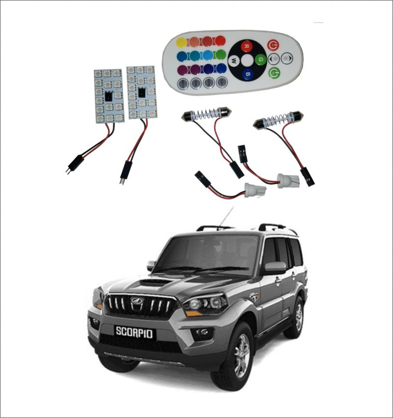 Buy Trigcars Mahindra Scorpio Old 2 X 16 Colors Rgb Bright 5050 LED Car Roof Dome Light Festoon T10 IR Remote online