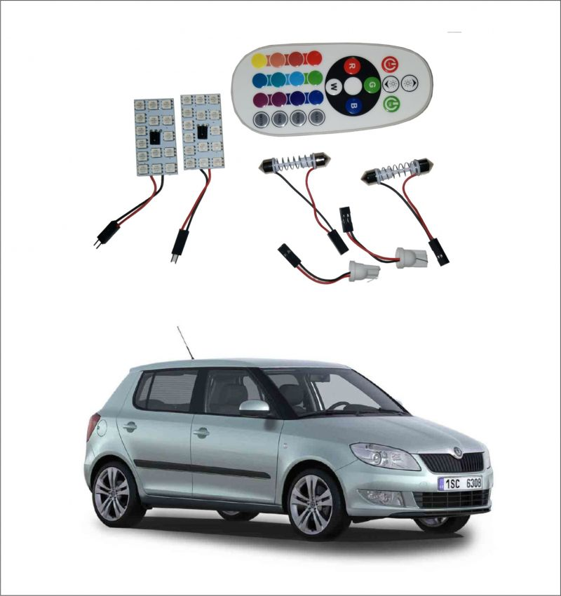 Buy Trigcars Skoda Fabia 2 X 16 Colors Rgb Bright 5050 LED Car Roof Dome Light Festoon T10 IR Remote online