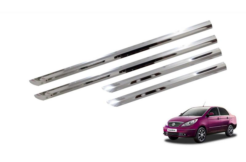 Buy Trigcars Tata Manza Car Steel Chrome Side Beading online