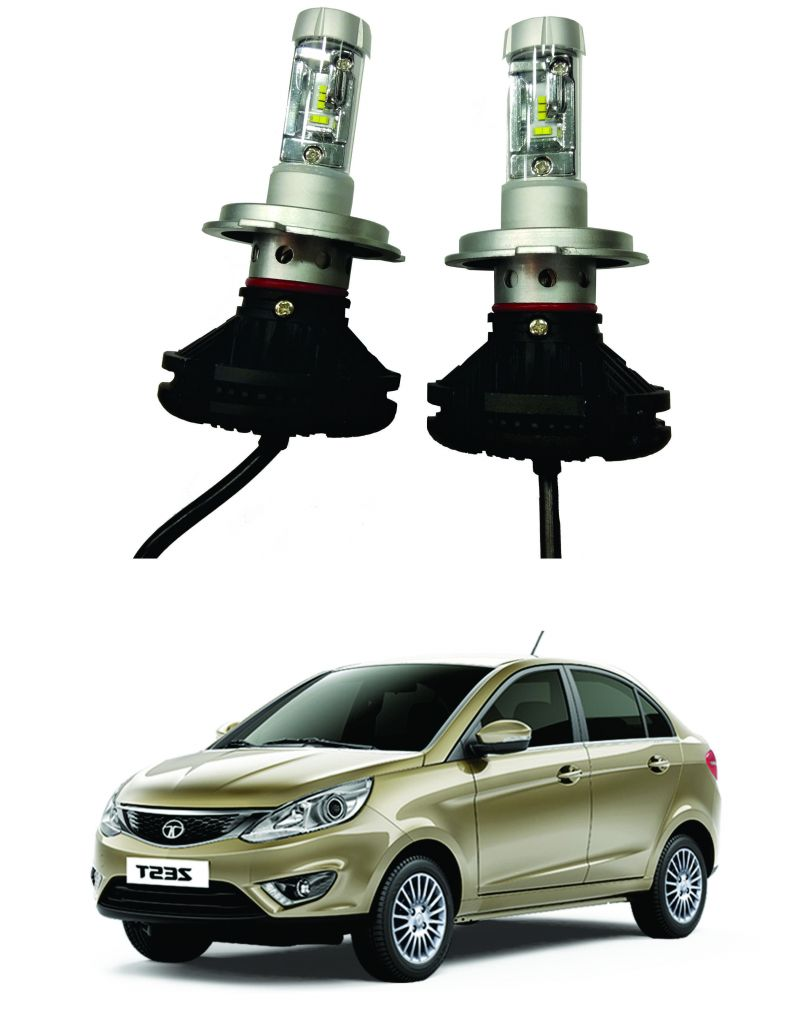 Buy Trigcars Tata Zest Car Glass LED Head Light online