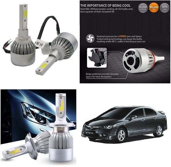 Buy Trigcars Honda Civic Old Car LED Hid Head Light online
