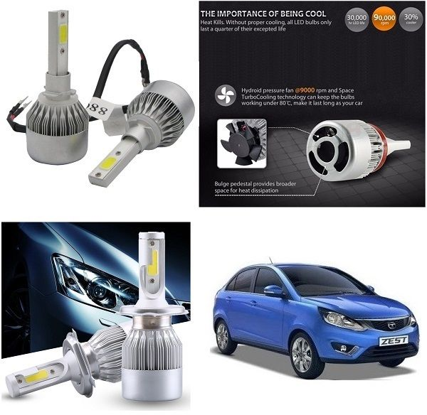 Buy Trigcars Tata Zest Car LED Hid Head Light online