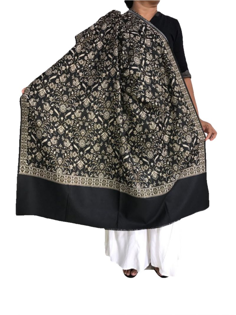 Buy Krish Jamawar Shawl Stole Black For Women online