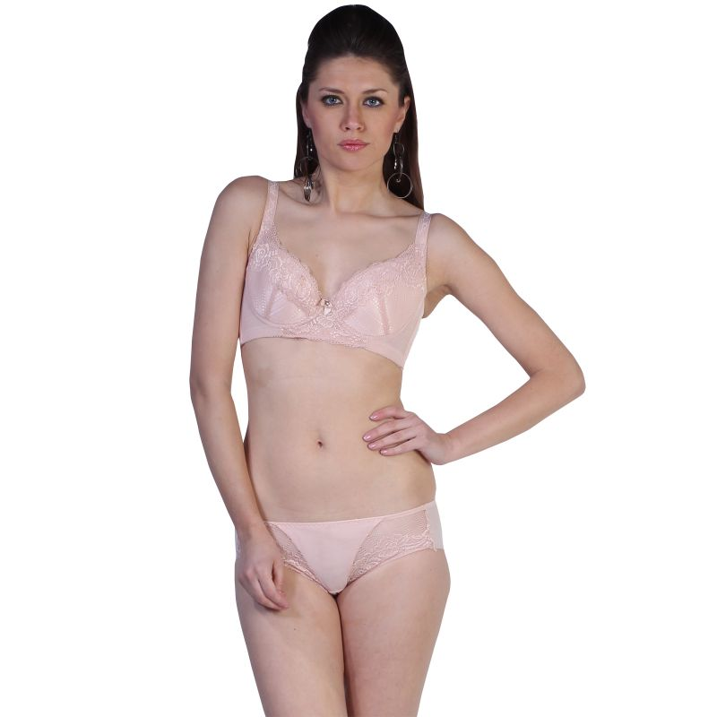 Buy Fascinating Lingerie - Alluring Embroidered Fascinating Baby Pink Bra With Matching Panty Set online