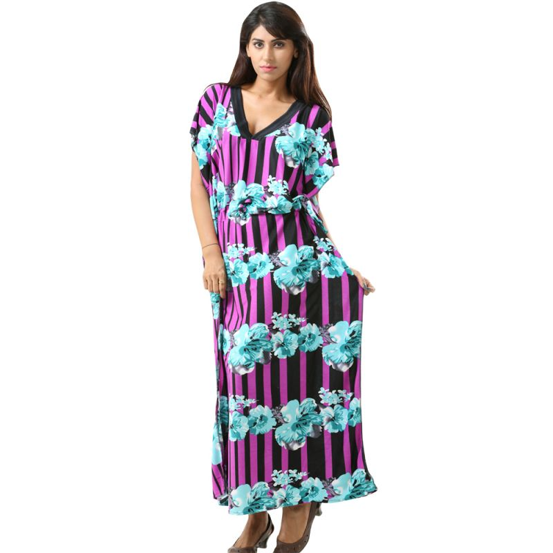Buy Fascinating Lingerie-Purple Floral Print Full Length Butterfly??Kaftan online