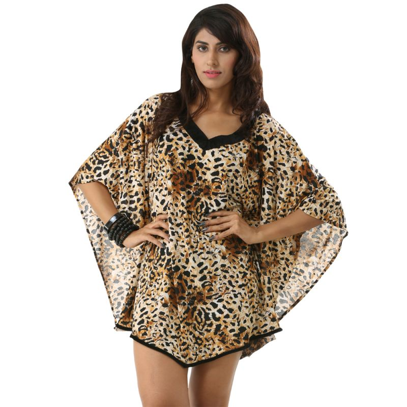 Buy Fascinating Lingerie-V-Neck Brownish Wild Leopard Print Kaftan Swimwear Cover Up Dress online
