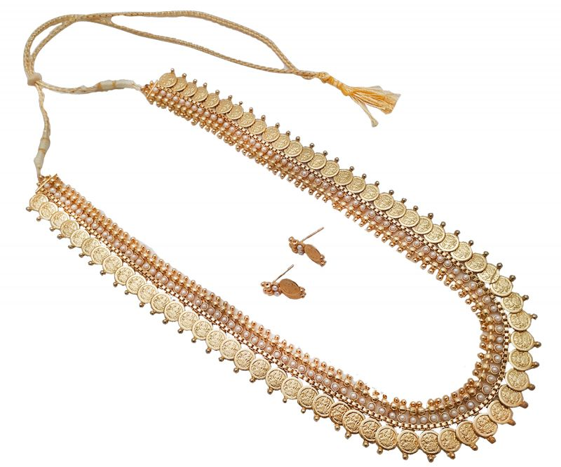 Buy Piah Jewellery Gold Plated Traditional Long Temple Coin with white Pearl dotted Necklace Set For Womens And Girls' online