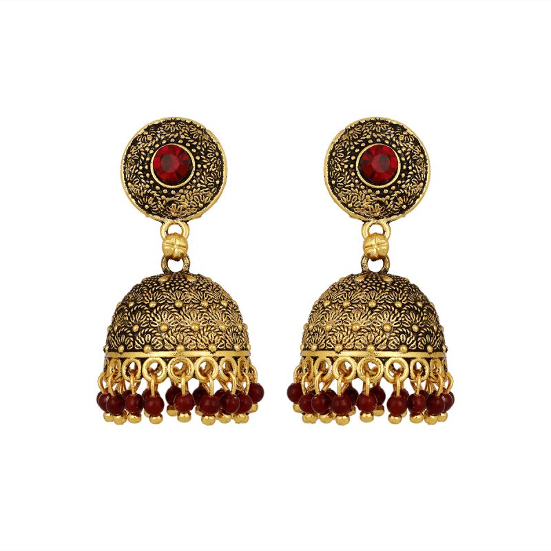 Buy Piah Alluring Antic Black Matel Gold plating  oxidised with red beads Brass Jumkhi  Earring for Women online