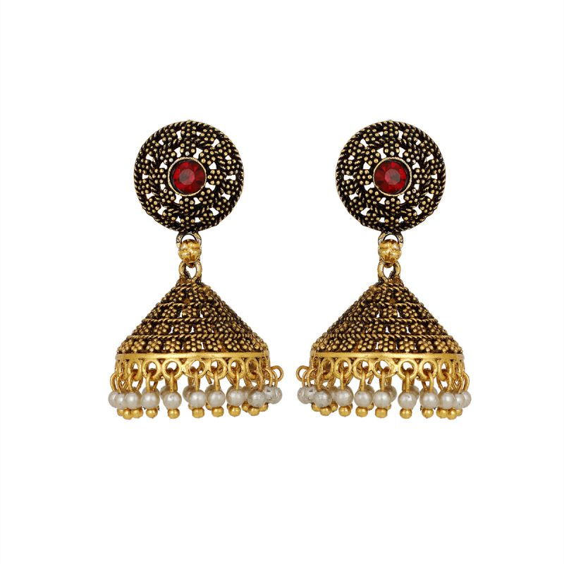 Buy Piah Gold Plated Jhumki Earrings with Pearl Danglers Pearl Brass Jhumki Earring online