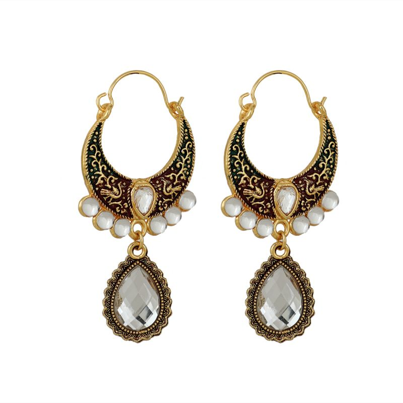 Buy Piah Kundans Chand Bali Pearl  Alloy Hoops Earrings For Women online