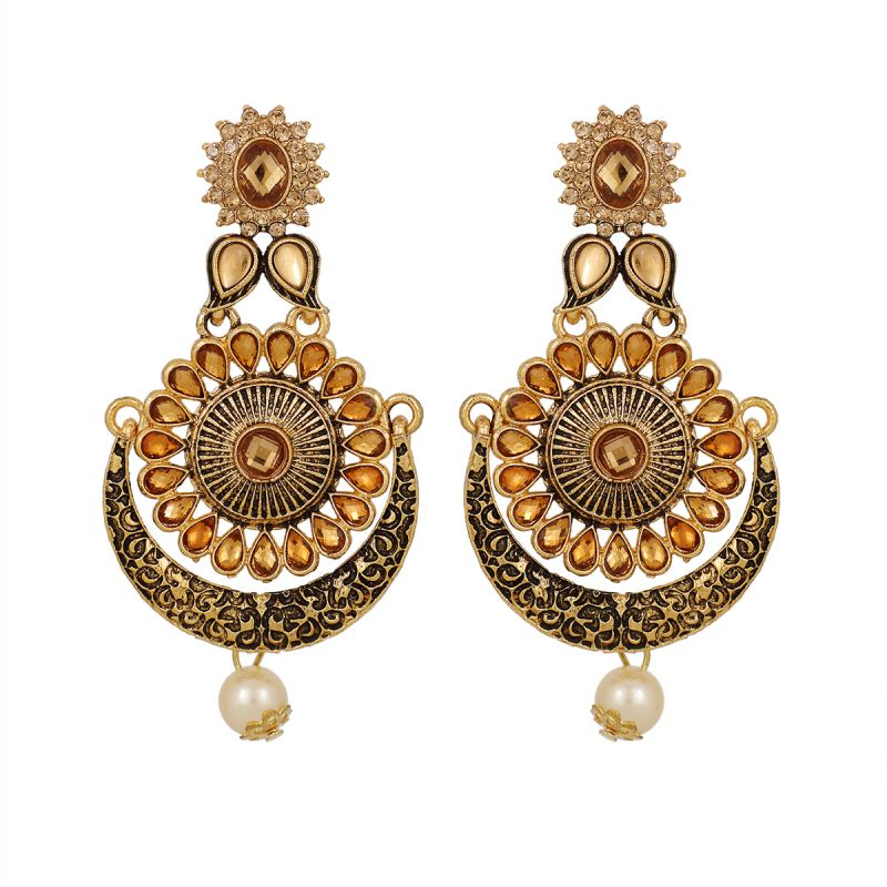 Buy Piah Gold Plated  LCT Traditional Indian Bollywood Ethnic Wedding Bridal Kundan And Pearls Statement Chandbali Earrings For Women online