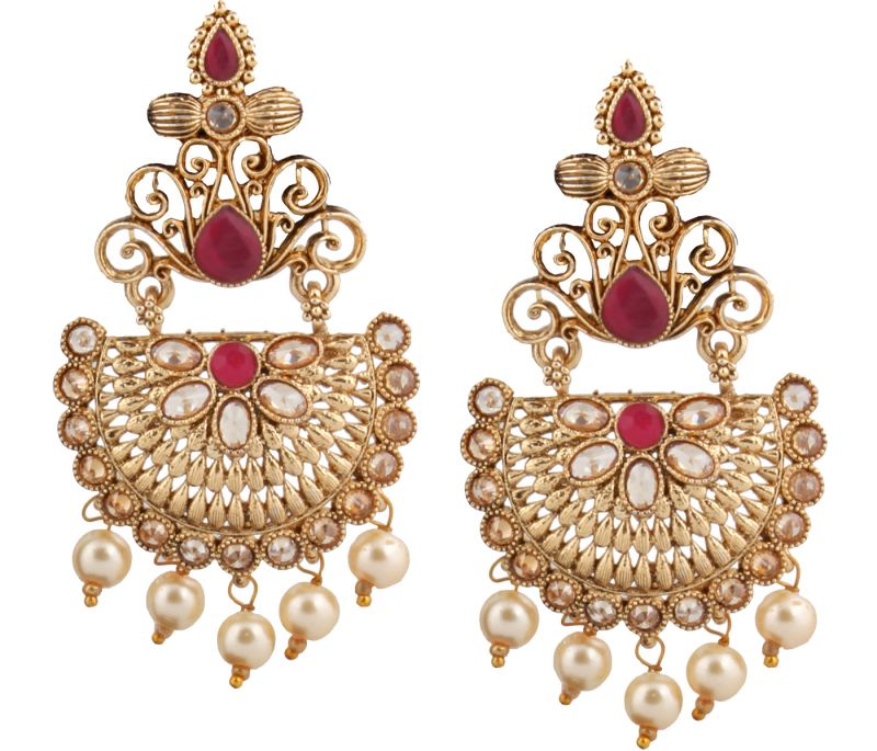 Buy Piah Fashion Gold Plated  Full LCT & Pink  Earring For Women and Girl online