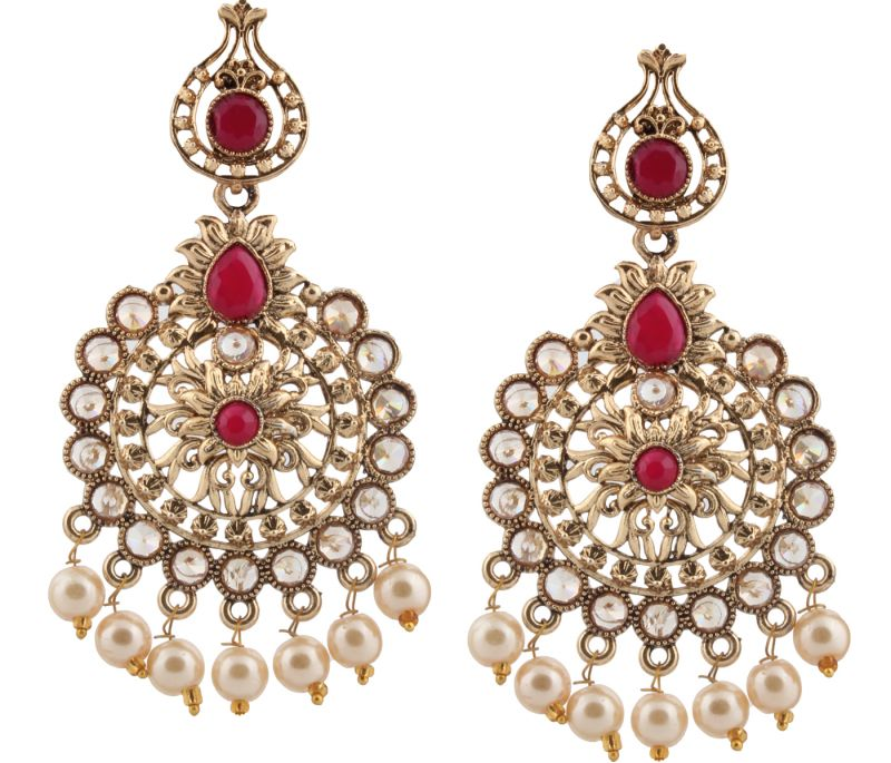 Buy Piah Fashion Gold Plated  Full LCT & Pink & With Pearl Earring For Women and Girl' online