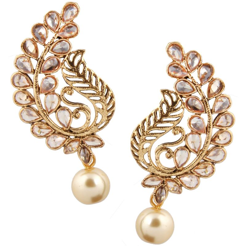 Buy Piah Fashion Gold Plated Tradational With White Pearl Earring For Women and Girl online