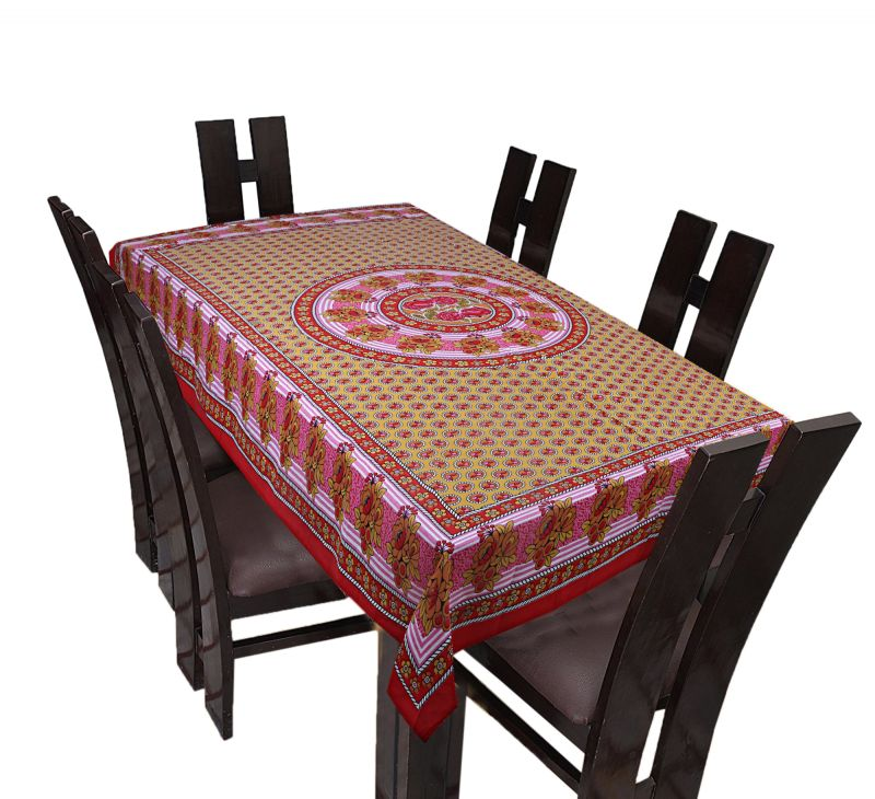 214 & TEXSTYLERS Floral Cotton 6 Seater Table Cover