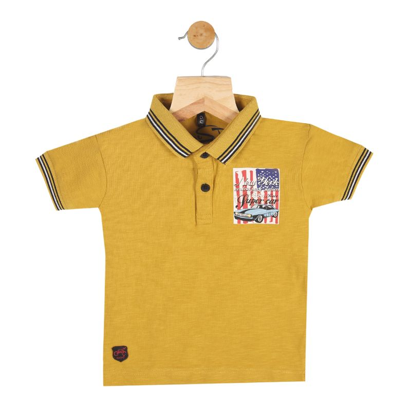 Buy Gusto Baby Boy's Mustard Cotton Blend Polo Neck T_Shirt online