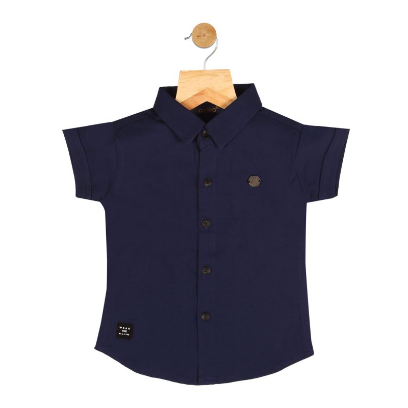 Buy Gusto Baby Boy's Navy Blue Cotton Blend Half Sleeved Shirt online