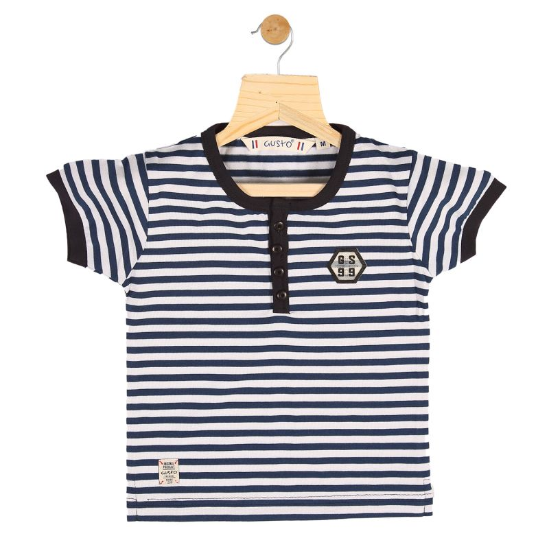 Buy Gusto Baby Boy's Navy Blue Cotton Stripes Printed T_Shirt online