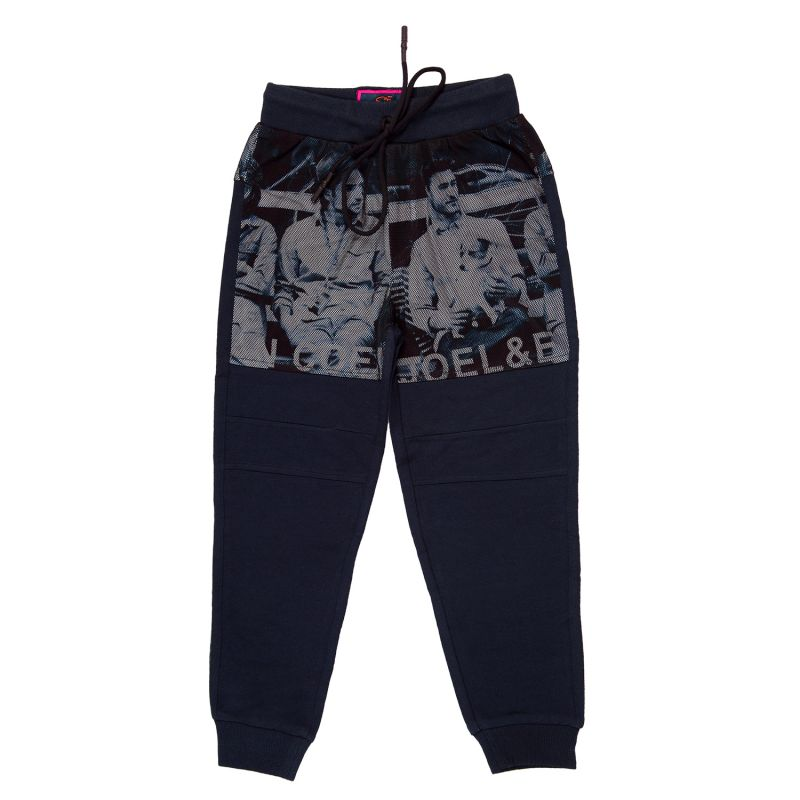 Buy Gusto Navy Blue Poly Cotton Printed Casual Jogger Pants for Boys online