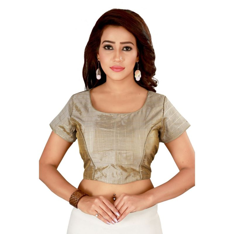 Buy Fabric and Lace Women Grey & Gold-Coloured Printed Padded Saree Blouse online