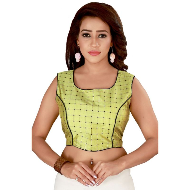 Buy Fabric and Lace Women Sea Green & Gold-Coloured Printed Padded Saree Blouse online
