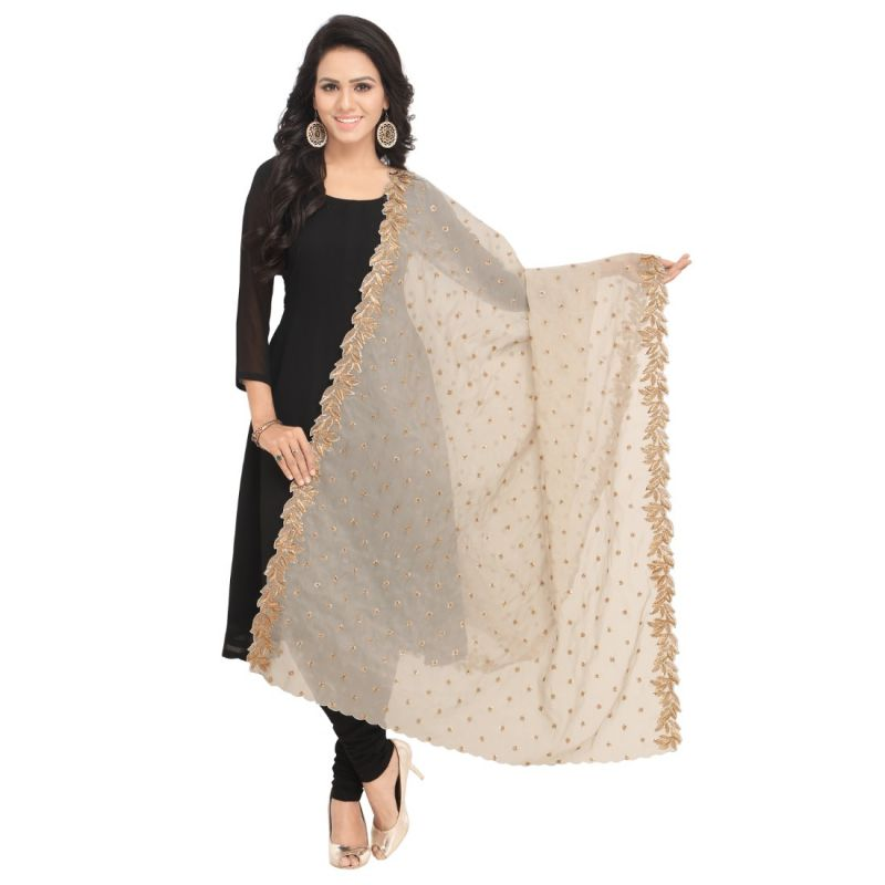 Buy Fabric and Lace Embroidery Lace with Sequence Butta Design Organza Tissue Dupatta online