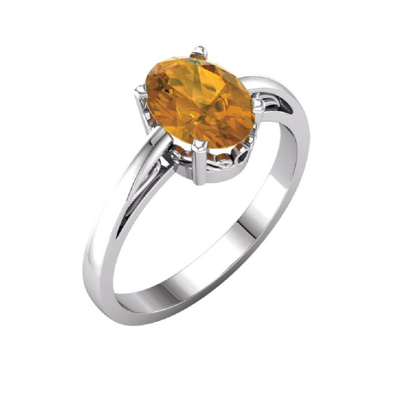 Buy Citrine 7.25 Carat Stone Silver Ring Lab Certified & Natural Stone Ring For Unisex (code- Cey0003) online