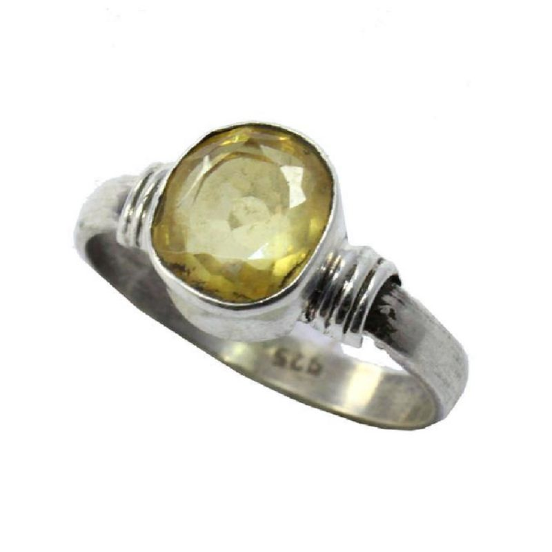 Buy Original 5.00 carat yellow sapphire silver ring natural & certified stone online
