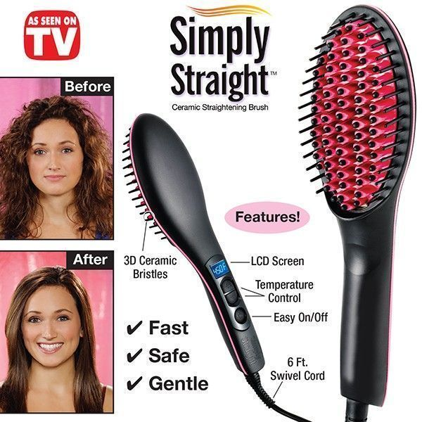 Buy Simply Straight Ceramic Brush Hair Straightener Usa Imported !!! online