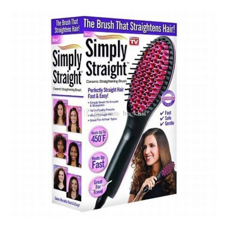 Buy Simply Straight Ceramic Electric Degital Control Antiscaled Fast Hair Straightener Brush Comb Irons LCD Display online