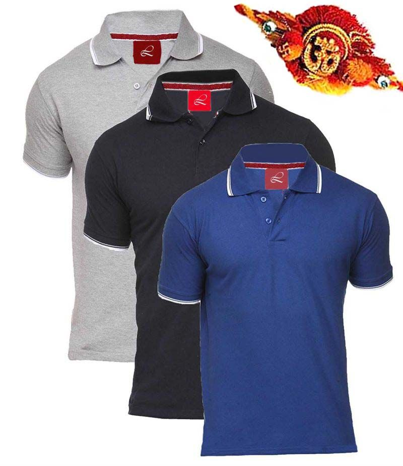 Buy Rakhi Gifts - Exclusive 3 Polo Neck T Shirts For Your Brother online