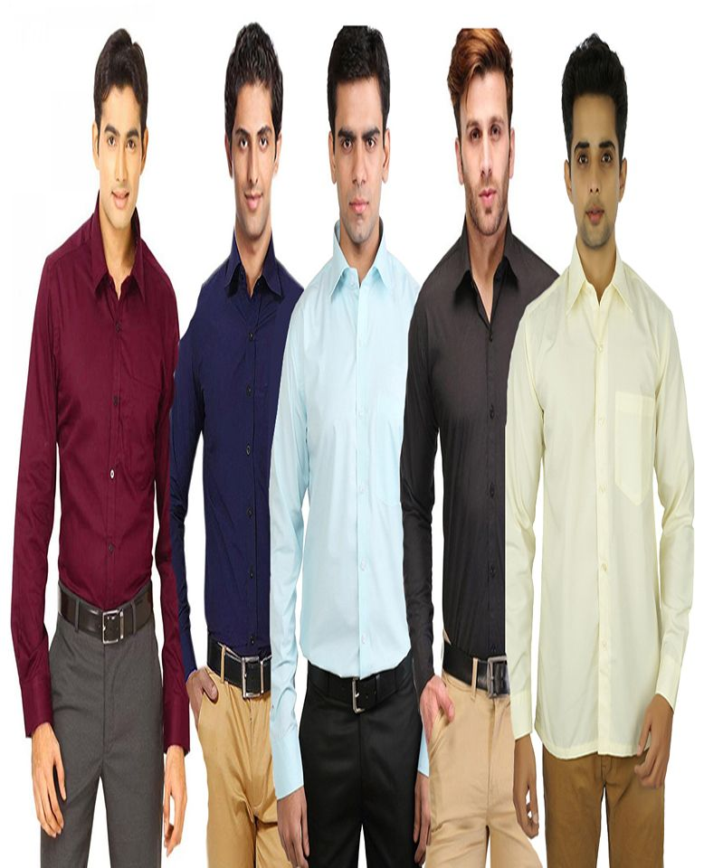 Buy Men's Assorted Formal Shirts- Pack Of 5 online