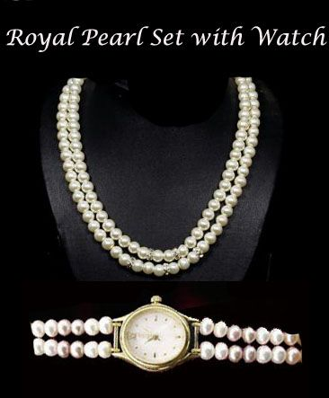 Buy Rakhi Gifts....royal Pearl Set With Watch For Your Sister online