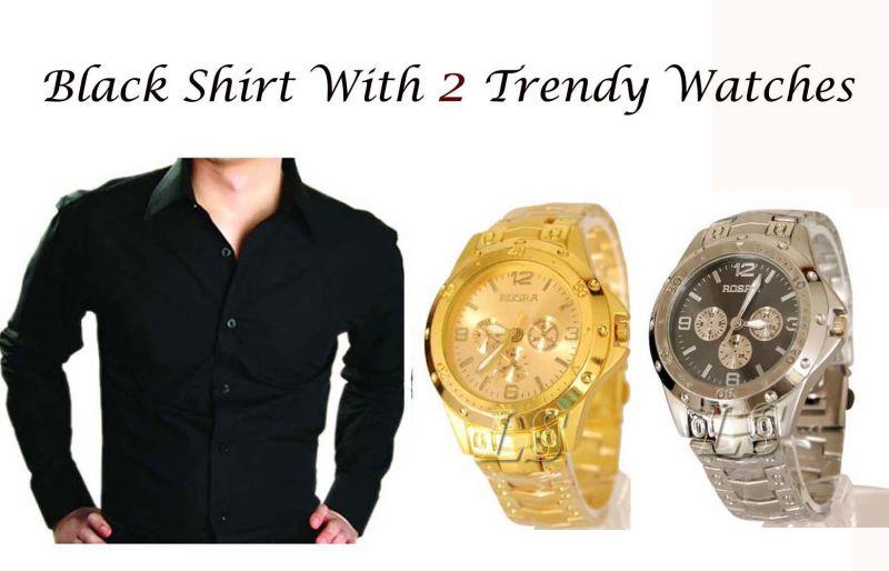 Buy Stylish Black Shirt 2 Trendy Watches..102 online