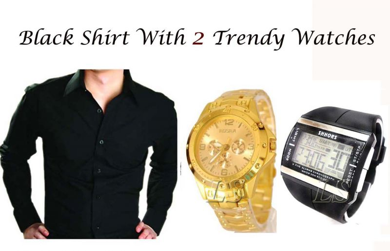 Buy Stylish Black Shirt   2 Trendy Watches online