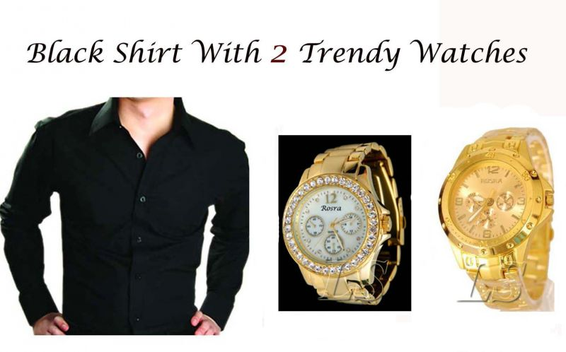 Buy Black Shirt With 2 Trendy Watches..120 online