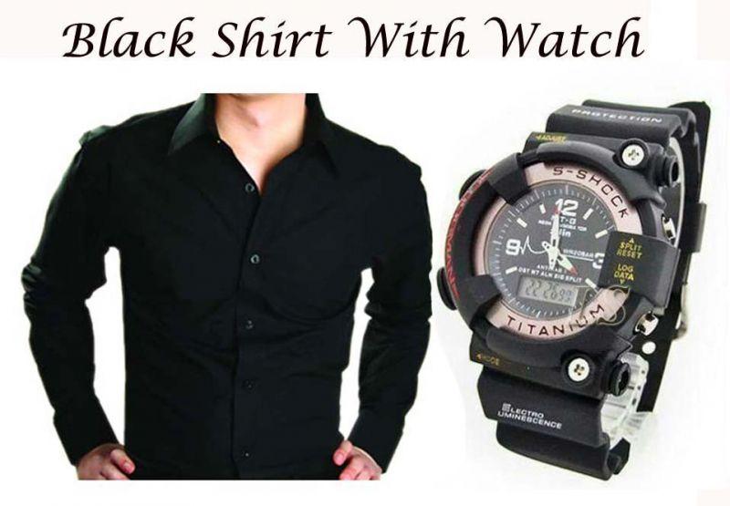 Buy Stylish Black Shirt With Stylish Watch..109 Online | Best ...