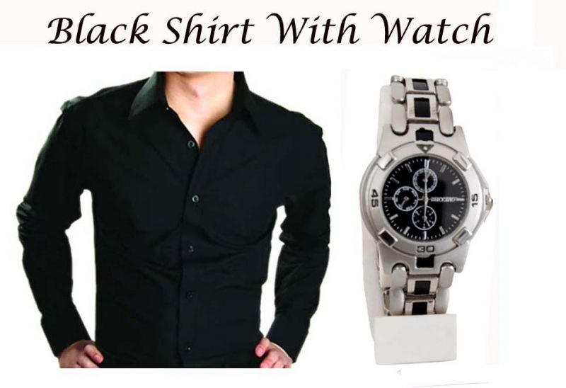 Buy Stylish Black Shirt With Stylish Watch online