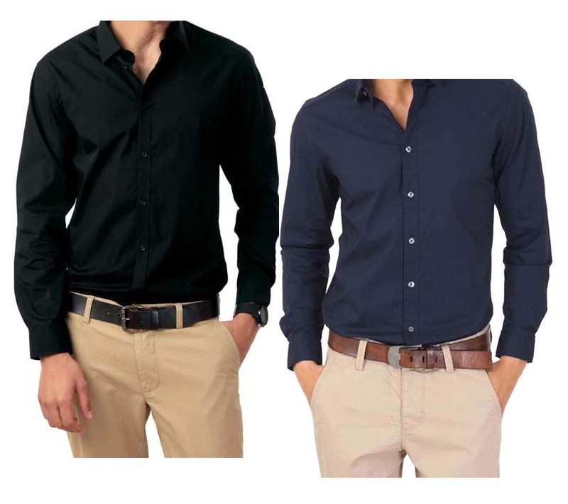 Buy Combo Of Black & Blue Full Sleeves Shirts Online | Best Prices ...