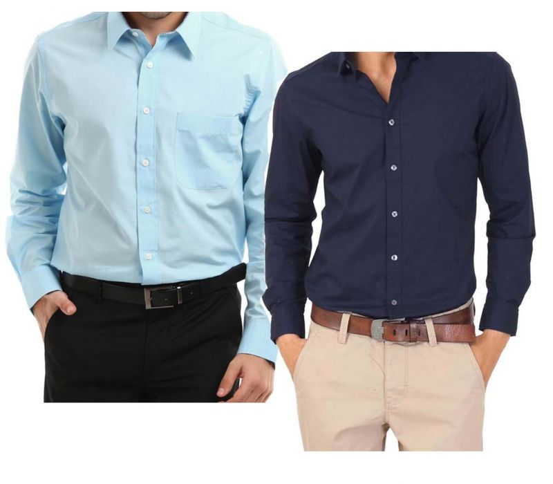 Buy Buy Light Blue Shirt & Get Navy Blue Shirt Free online