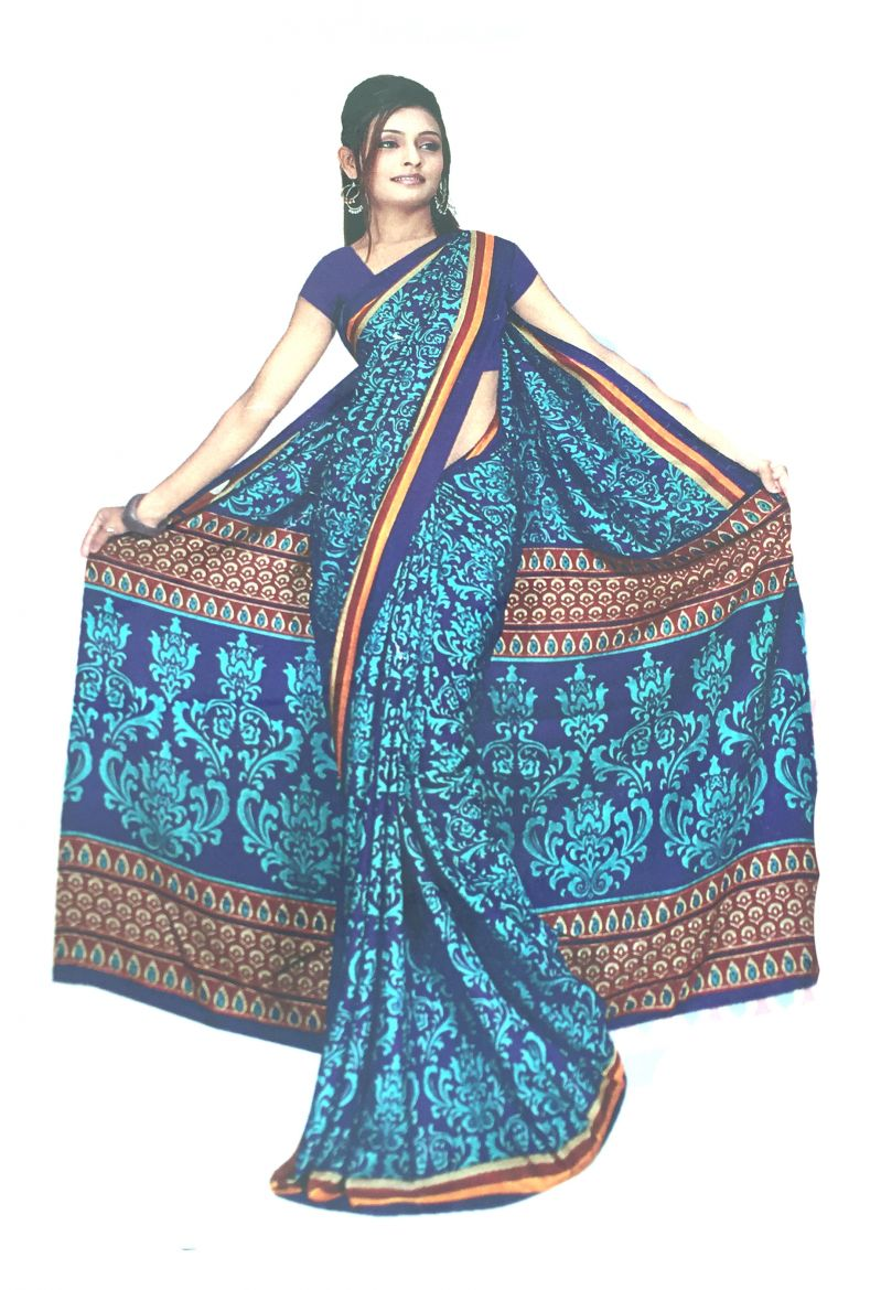Buy Hi Lifestyles Blue Malgudi Silk Saree online