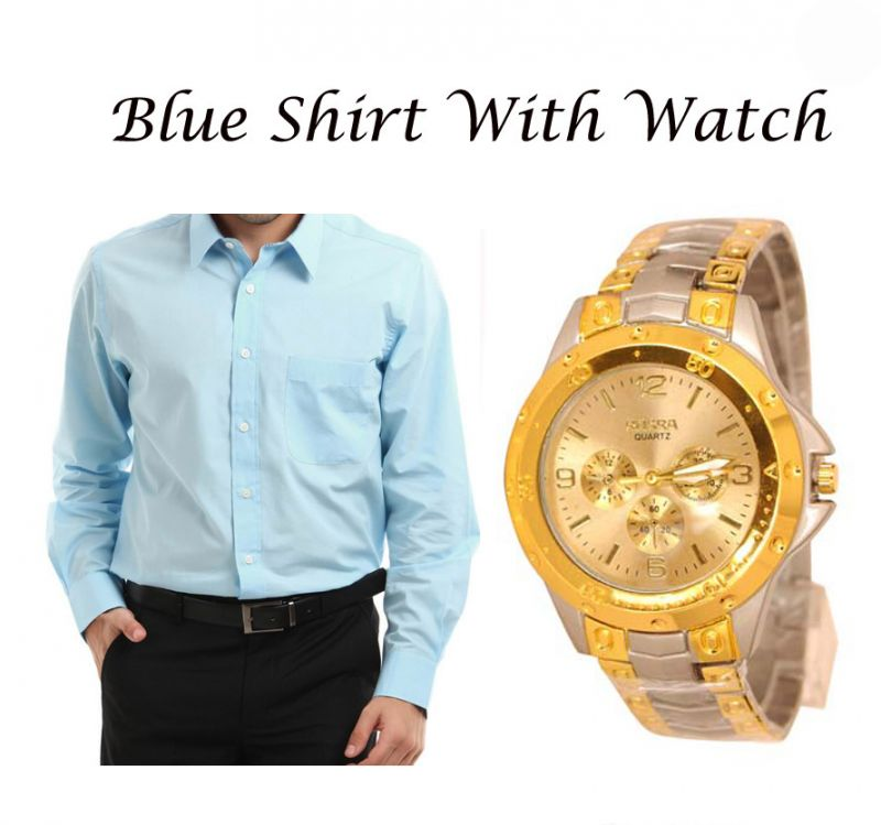 Buy Stylish Blue Shirt With Stylish Watch online