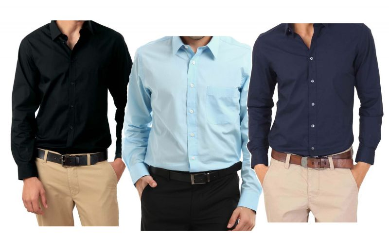 Buy Combo Of Black, Light Blue & Navy Blue Full Sleeves Shirts ...