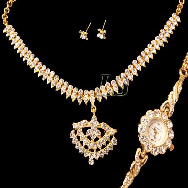 Buy Ethnic Cz Diamond Set With Watch online