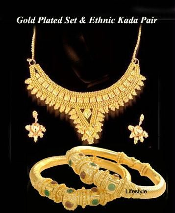 Buy Gold Plated Set With Ethnic Kada Pair online